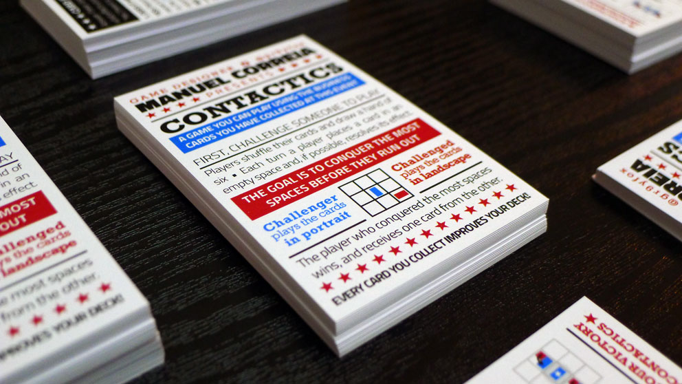Gamasutra Manuel Correia S Blog Contactics A Game On A Business Card